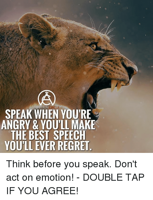 Regretment: RCLE  SPEAK WHEN YOU'RE  ANGRY & YOU'LL MAKE  THE BEST SPEECH  YOU'LL EVER REGRET Think before you speak. Don't act on emotion! - DOUBLE TAP IF YOU AGREE!