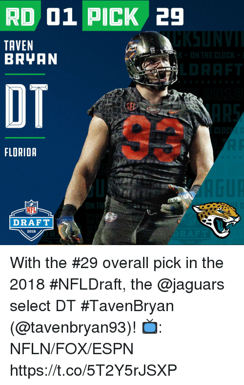 NFL draft: RD 01 PICK 29  TAVEN  BRYAN  OT  FLORIDR  NFL  DRAFT  2018 With the #29 overall pick in the 2018 #NFLDraft, the @jaguars select DT #TavenBryan (@tavenbryan93)!  📺: NFLN/FOX/ESPN https://t.co/5T2Y5rJSXP