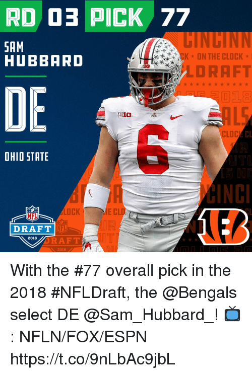 Clock, Espn, and Memes: RD O PICK 77  HINCINN  SAM  HUBBARD  CK* ON THE CLOCK*  30@ 慶へ¥  LDRAFT  DE  B1G  CL  OHIO STATE  UT  LOCK  E CL  LD  NFL  NFL  NP  DRAFT  UT  RAFT  2018  2018 With the #77 overall pick in the 2018 #NFLDraft, the @Bengals select DE @Sam_Hubbard_!  📺: NFLN/FOX/ESPN https://t.co/9nLbAc9jbL