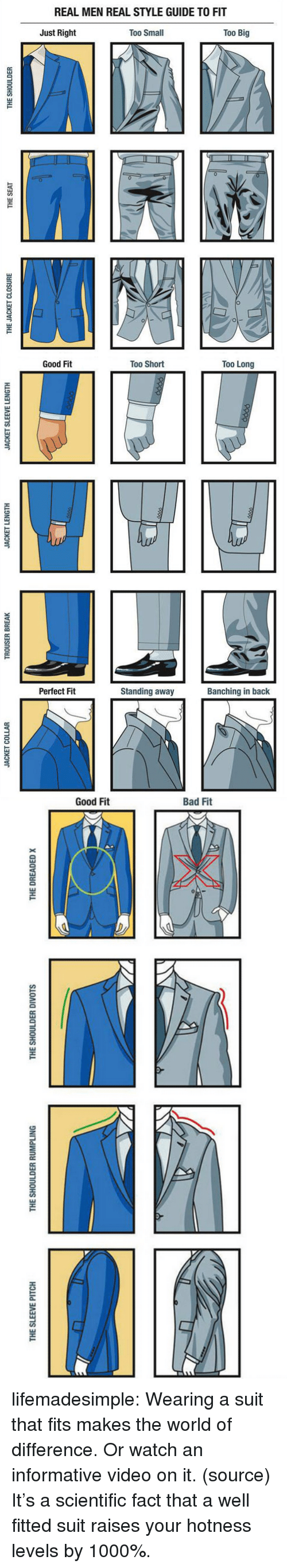 Tumblr, youtube.com, and Blog: REAL MEN REAL STYLE GUIDE TO FIT  Just Right  Too Small  Too Big  0  1   Good Fit  Too Short  Too Long  Perfect Fit  Standing away  Banching in back   THE SLEEVE PITCH  THE SHOULDER RUMPLING  THE SHOULDER DIVOTS  THE DREADED x lifemadesimple:  Wearing a suit that fits makes the world of difference. Or watch an informative video on it. (source)  It's a scientific fact that a well fitted suit raises your hotness levels by 1000%.