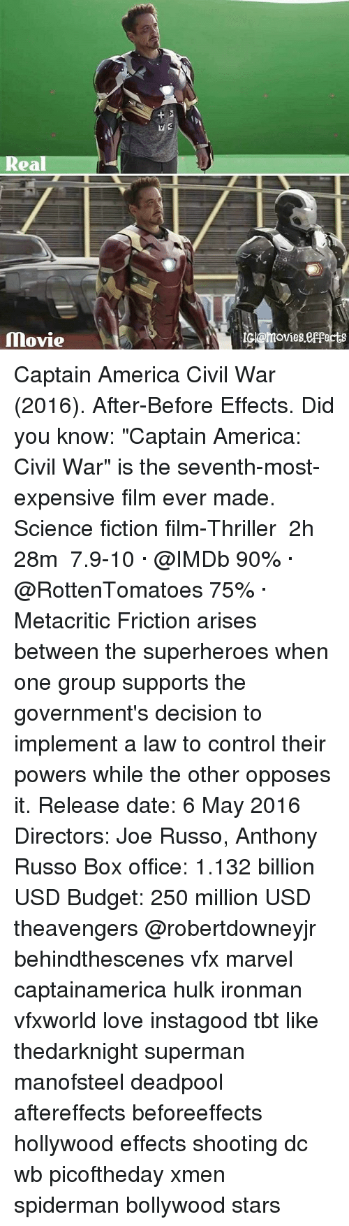 """xmen: Real  Movie  IGILomovies.esperis Captain America Civil War (2016). After-Before Effects. Did you know: """"Captain America: Civil War"""" is the seventh-most-expensive film ever made. Science fiction film-Thriller ‧ 2h 28m  7.9-10 · @IMDb 90% · @RottenTomatoes 75% · Metacritic Friction arises between the superheroes when one group supports the government's decision to implement a law to control their powers while the other opposes it. Release date: 6 May 2016 Directors: Joe Russo, Anthony Russo Box office: 1.132 billion USD Budget: 250 million USD theavengers @robertdowneyjr behindthescenes vfx marvel captainamerica hulk ironman vfxworld love instagood tbt like thedarknight superman manofsteel deadpool aftereffects beforeeffects hollywood effects shooting dc wb picoftheday xmen spiderman bollywood stars"""
