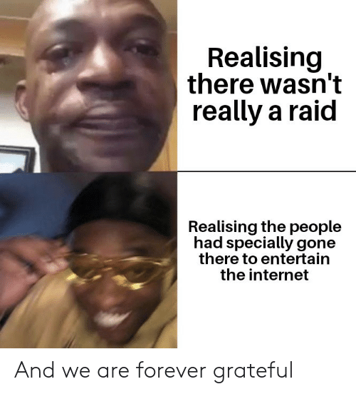 entertain: Realising  there wasn't  really a raid  Realising the people  had specially gone  there to entertain  the internet And we are forever grateful