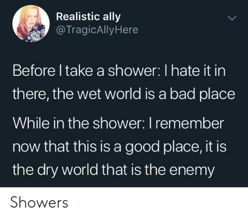 Ally: Realistic ally  @TragicAllyHere  Before I take a shower: I hate it in  there, the wet world is a bad place  While in the shower: I remember  now that this is a good place, it is  the dry world that is the enemy Showers