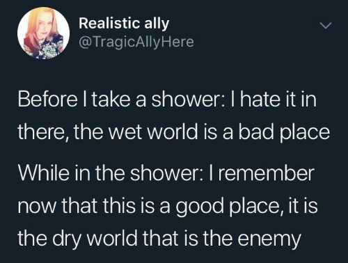 Bad, Shower, and Ally: Realistic ally  @TragicAllyHere  Before I take a shower: I hate it in  there, the wet world is a bad place  While in the shower: I remember  now that this is a good place, it is  the dry world that is the enemy