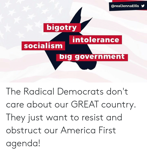 Bigotry: @realJennaEllis  bigotry  intolerance  socialism  big government The Radical Democrats don't care about our GREAT country. They just want to resist and obstruct our America First agenda!