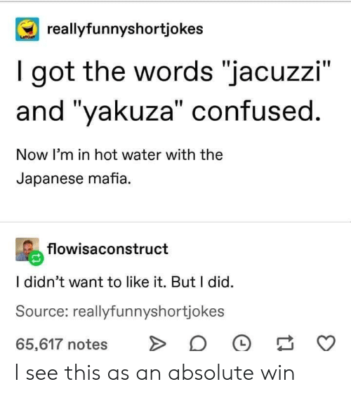 "Confused, Water, and Japanese: reallyfunnyshortjokes  I got the words ""jacuzzi""  and ""yakuza"" confused.  Now I'm in hot water with the  Japanese mafia.  flowisaconstruct  I didn't want to like it. But I did  Source: reallyfunnyshortjokes  65,617 notes I see this as an absolute win"