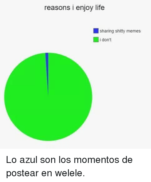 Life, Memes, and Son: reasons i enjoy life  sharing shitty memes  i don't Lo azul son los momentos de postear en welele.