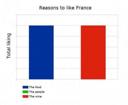 total: Reasons to like France  |The food  The people  |The wine  Total liking