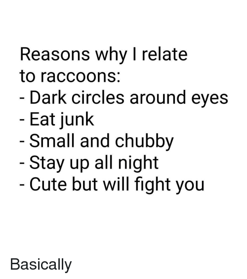 Stayed Up All Night: Reasons why I relate  to raccoons  Dark circles around eyes  Eat junk  Small and Chubby  Stay up all night  Cute but will fight you Basically
