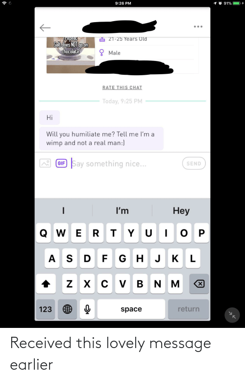 Lovely Message: Received this lovely message earlier