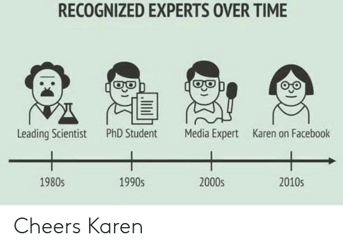 Phd Student: RECOGNIZED EXPERTS OVER TIME  Leading Scientist  PhD Student  Media Expert  Karen on Facebook  1980s  1990s  2000s  2010s  .lilil Cheers Karen