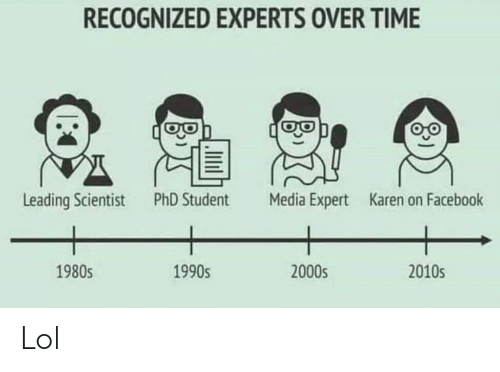 Phd Student: RECOGNIZED EXPERTS OVER TIME  Leading Scientist  PhD Student  Media Expert  Karen on Facebook  2010s  1980s  2000s  1990s Lol