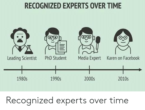 Phd Student: RECOGNIZED EXPERTS OVER TIME  PhD Student  Leading Scientist  Media Expert  Karen on Facebook  1990s  2000s  2010s  1980s Recognized experts over time