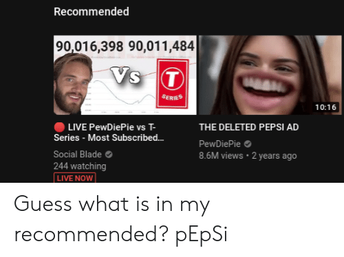 Recommended 90016398 90011484 SERIES 1016 LIVE PewDiePie vs T