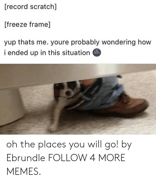 Freeze Frame: [record scratch]  [freeze frame]  yup thats me. youre probably wondering how  i ended up in this situation oh the places you will go! by Ebrundle FOLLOW 4 MORE MEMES.