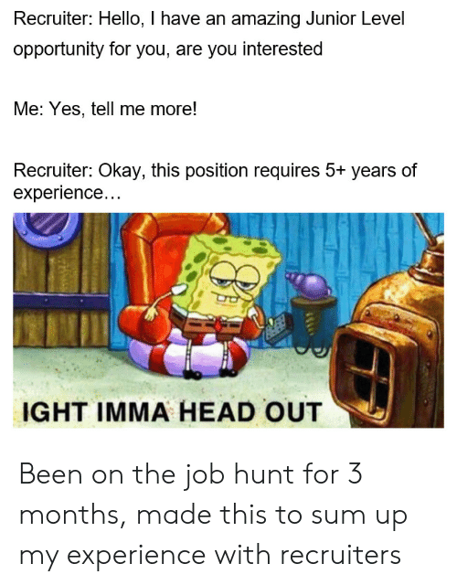 Requires: Recruiter: Hello, I have an amazing Junior Level  opportunity for you, are you interested  Me: Yes, tell me more!  Recruiter: Okay, this position requires 5+ years of  experience...  IGHT IMMA HEAD OUT Been on the job hunt for 3 months, made this to sum up my experience with recruiters
