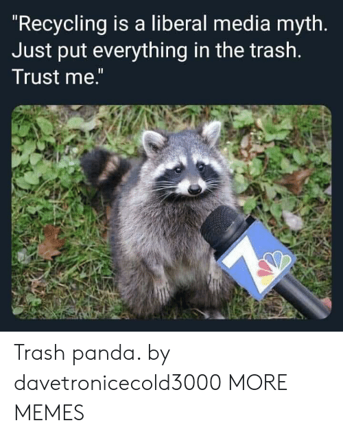 "Dank, Memes, and Target: ""Recycling is a liberal media myth.  Just put everything in the trash.  Trust me."" Trash panda. by davetronicecold3000 MORE MEMES"