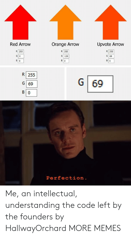intellectual: Red Arrow  Orange Arrow  Upvote Arrow  R 255  R 255  R 255  G 128  G 0  G 69  в о  в о  В о  R 255  G  69  G 69  В о  Perfection . Me, an intellectual, understanding the code left by the founders by HallwayOrchard MORE MEMES