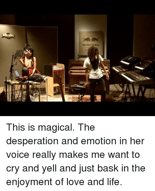Life, Love, and Voice: Red Buil Studios This is magical. The desperation and emotion in her voice really makes me want to cry and yell and just bask in the enjoyment of love and life.