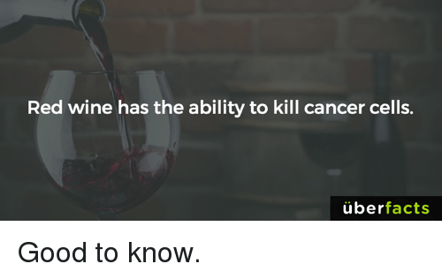 Uber Facts: Red wine has the ability to kill cancer cells.  uber  facts Good to know.