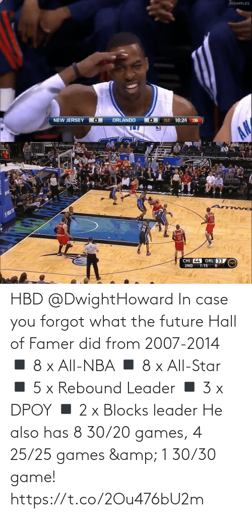 leader: REDAPPLES  NEW JERSEY O  ORLANDO  IST 10:24 :06  AN   :15  AREDAPPLES.  SPALTID  AMWAY CENI  BIG  SNBA TV  14  CHI 44  ORL 33  TNT  2ND  1:15 HBD @DwightHoward In case you forgot what the future Hall of Famer did from 2007-2014  ◾️ 8 x All-NBA  ◾️ 8 x All-Star  ◾️ 5 x Rebound Leader ◾️ 3 x DPOY ◾️ 2 x Blocks leader  He also has 8 30/20 games, 4 25/25 games & 1 30/30 game! https://t.co/2Ou476bU2m