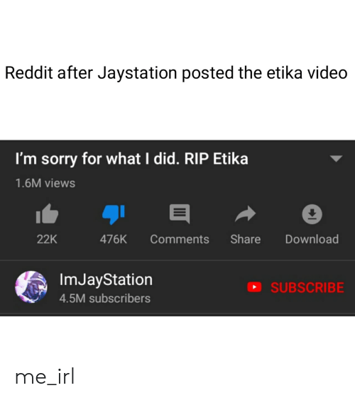 Reddit After Jaystation Posted the Etika Video I'm Sorry for What I