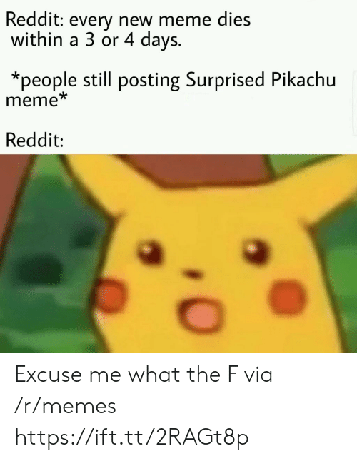 Surprised Pikachu: Reddit: every new meme dies  within a 3 or 4 days.  *people still posting Surprised Pikachu  meme  Reddit: Excuse me what the F via /r/memes https://ift.tt/2RAGt8p