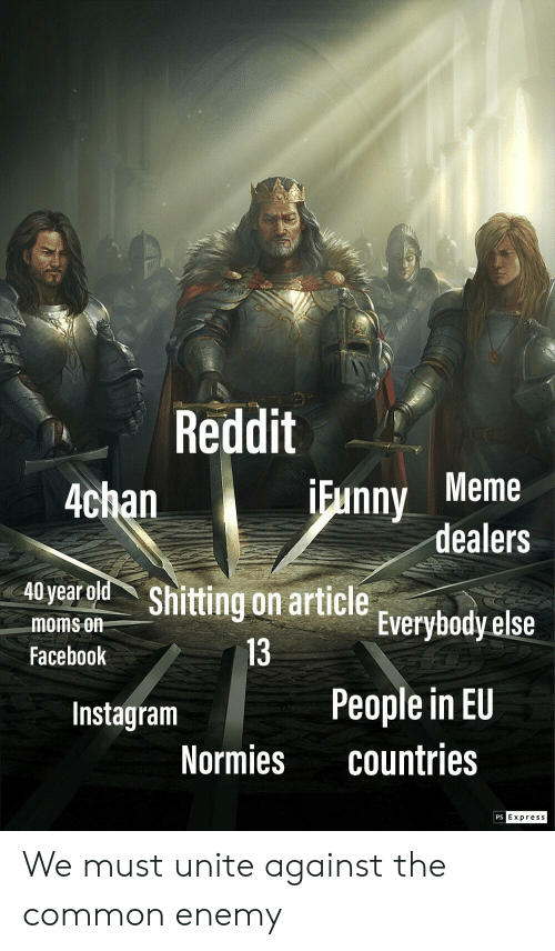 4chan, Facebook, and Funny: Reddit  Funny Meme  dealers  4chan  A0yearolk Shitting on article Everybody else  moms on  Facebook  13  People in EU  countries  Instagram  Normies  PS  Expres s We must unite against the common enemy