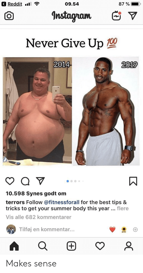 Summer Body: Reddit ll  09.54  87 %  Instagram  Never Give Up 100  2014  2019  10.598 Synes godt om  terrors Follow @fitnessforall for the best tips &  tricks to get your summer body this year .. flere  Vis alle 682 kommentarer  Tilføj en kommentar...  (+ Makes sense
