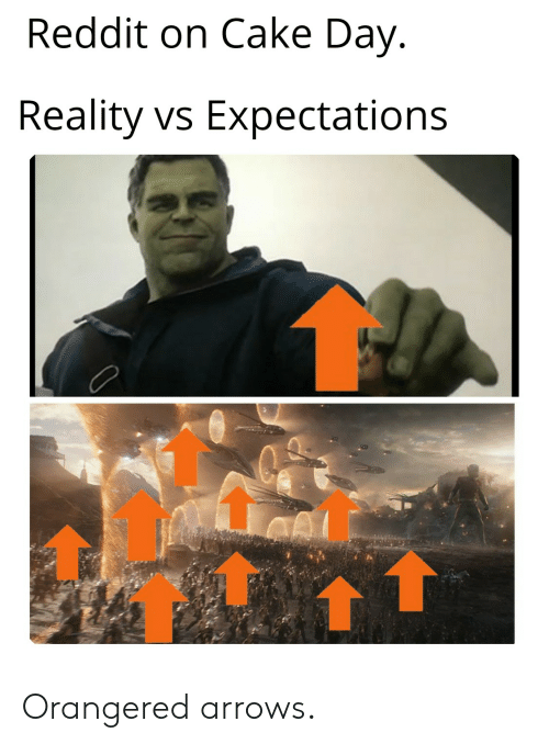 Reddit on Cake Day Reality vs Expectations Orangered Arrows