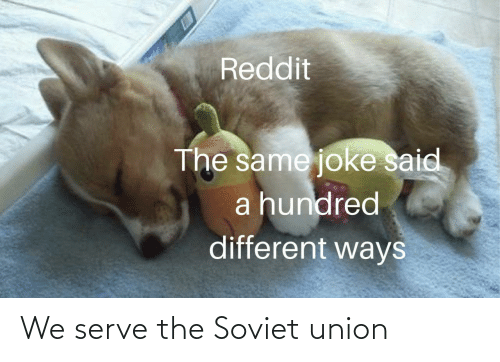 Soviet Union: Reddit  The same joke said  a hundred  different ways We serve the Soviet union