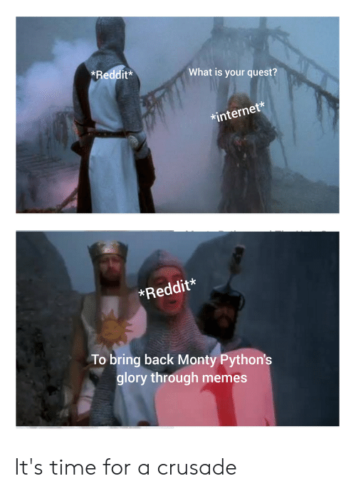 Internet, Memes, and Reddit: Reddit*  What is your quest?  internet*  Reddit*  To bring back Monty Python's  glory through memes It's time for a crusade