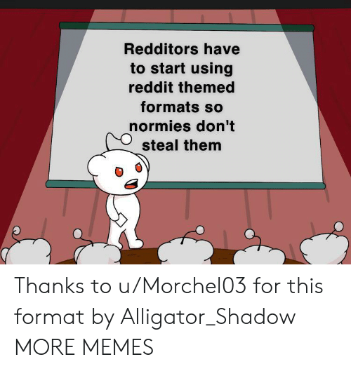 Formats: Redditors have  to start using  reddit themed  formats so  normies don't  steal them Thanks to u/Morchel03 for this format by Alligator_Shadow MORE MEMES