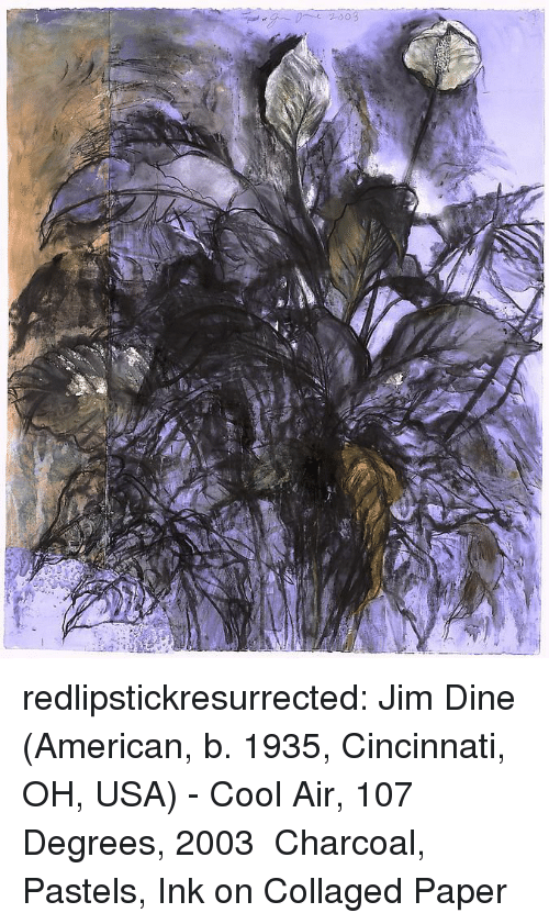 Pastels: redlipstickresurrected:  Jim Dine (American, b. 1935, Cincinnati, OH, USA) -Cool Air, 107 Degrees, 2003 Charcoal, Pastels, Ink on Collaged Paper
