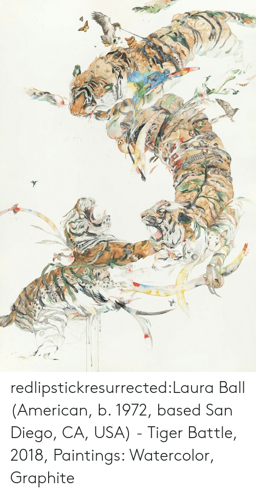 Paintings, Tumblr, and American: redlipstickresurrected:Laura Ball (American, b. 1972, based San Diego, CA, USA) - Tiger Battle, 2018, Paintings: Watercolor, Graphite