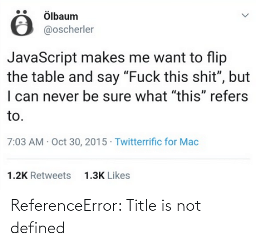 defined: ReferenceError: Title is not defined