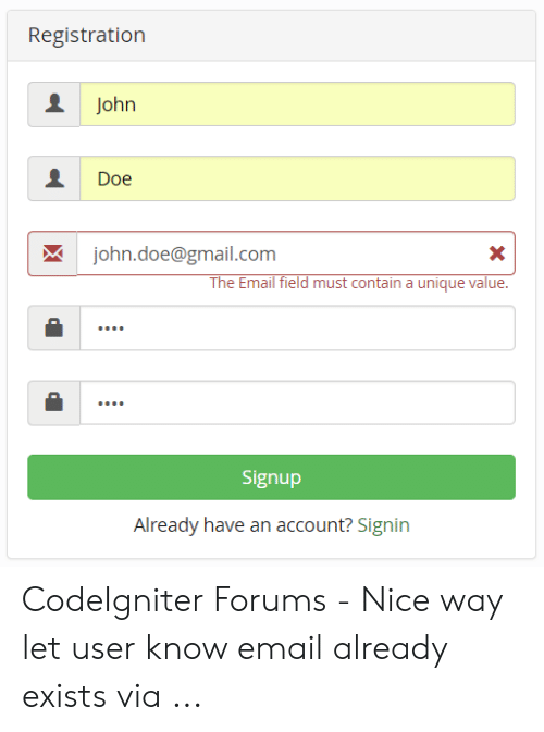 Registration John Doe Johndoe@gmailcom the Email Field Must Contain