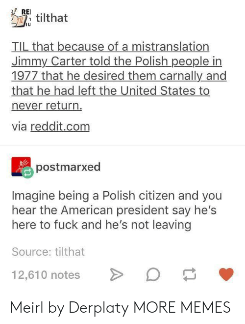 rei: REI.  ILI  TIL that because of a mistranslation  Jimmy Carter told the Polish people in  1977 that he desired them carnally and  that he had left the United States to  never return  via reddit.com  postmarxed  Imagine being a Polish citizen and you  hear the American president say hes  here to fuck and he's not leaving  Source: tilthat  12,610 notesO Meirl by Derplaty MORE MEMES