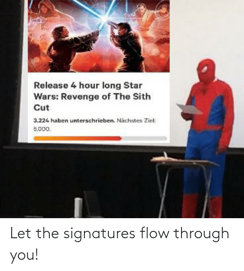 Release 4 Hour Long Star Wars Revenge Of The Sith Cut 3224 Haben Unterschrieben Nachstes Ziel 5000 Let The Signatures Flow Through You Reddit Meme On Awwmemes Com