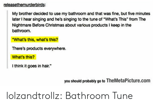 "Christmas, Singing, and Tumblr: releasethemurderbirds:  My brother decided to use my bathroom and that was fine, but five minutes  later I hear singing and he's singing to the tune of ""What's This"" from The  Nightmare Before Christmas about various products I keep in the  bathroom.  ""What's this, what's this?  There's products everywhere.  What's this?  I think it goes in hair.  you should probably go to TheMetaPicture.com lolzandtrollz:  Bathroom Tune"