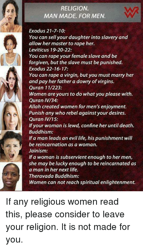 religion makes women subservient to men Finally, men feel that women are more likely to become possessed because they see no difference between the zār and islam to women, they are just performing a part of the general islamic religion and therefore they put themselves in the position to be overtaken by zayran.