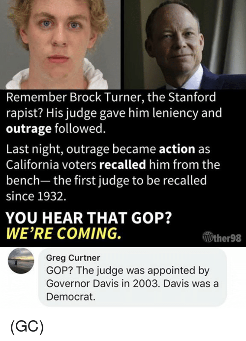 Stanford: Remember Brock Turner, the Stanford  rapist? His judge gave him leniency and  outrage followed.  Last night, outrage became action as  California voters recalled him from the  bench- the first judge to be recalled  since 1932.  YOU HEAR THAT GOP?  WE'RE COMING.  Wther98  Greg Curtner  GOP? The judge was appointed by  Governor Davis in 2003. Davis was a  Democrat (GC)