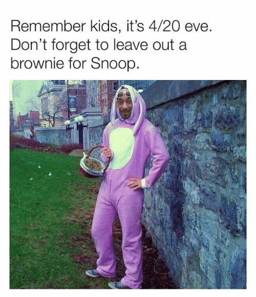 Brownie: Remember kids, it's 4/20 eve  Don't forget to leave out a  brownie for Snoop.
