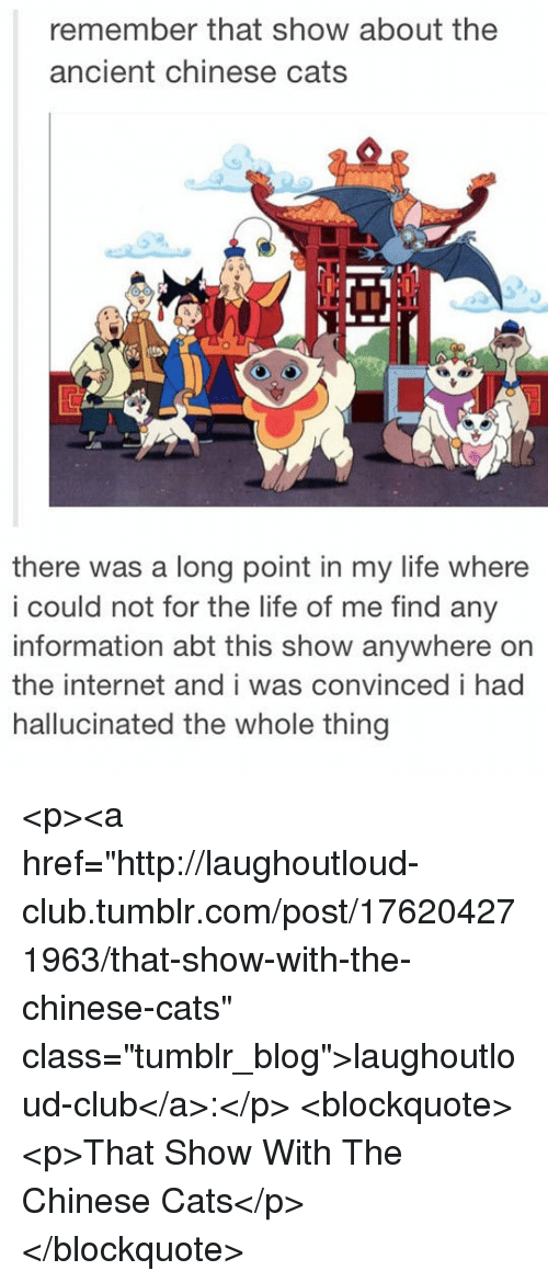"""Cats, Club, and Internet: remember that show about the  ancient chinese cats  there was a long point in my life where  i could not for the life of me find any  information abt this show anywhere on  the internet andi was convinced i had  hallucinated the whole thing <p><a href=""""http://laughoutloud-club.tumblr.com/post/176204271963/that-show-with-the-chinese-cats"""" class=""""tumblr_blog"""">laughoutloud-club</a>:</p>  <blockquote><p>That Show With The Chinese Cats</p></blockquote>"""