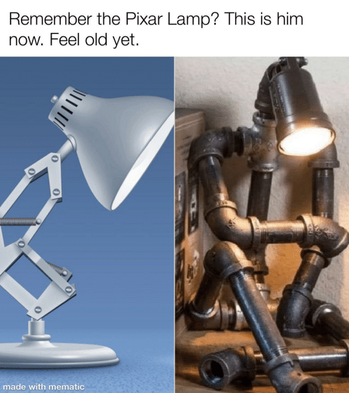 Mematic: Remember the Pixar Lamp? This is him  now. Feel old yet.  made with mematic