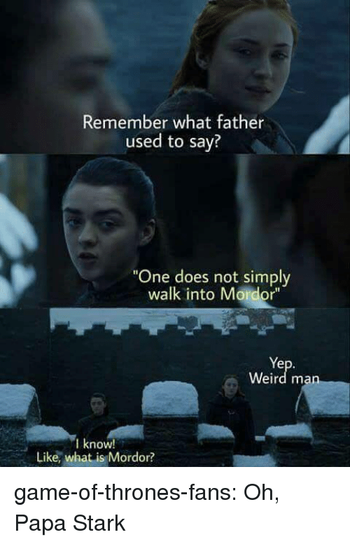 "Game of Thrones, Tumblr, and Weird: Remember what father  used to say?  ""One does not simply  walk into Mordor""  Ye  Weird man  know!  Like, what is Mordor? game-of-thrones-fans:  Oh, Papa Stark"