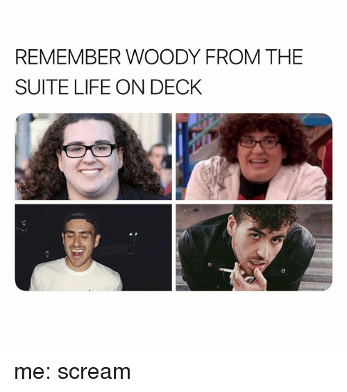 suite life: REMEMBER WOODY FROM THE  SUITE LIFE ON DECK me: scream