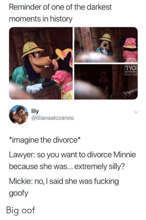 lily: Reminder of one of the darkest  moments in history  TYO  OTODAY  VEARS OLD  lily  @lilianaalozanoo  imagine the divorce*  Lawyer: so you want to divorce Minnie  because she was... extremely silly?  Mickie: no, I said she was fucking  goofy Big oof