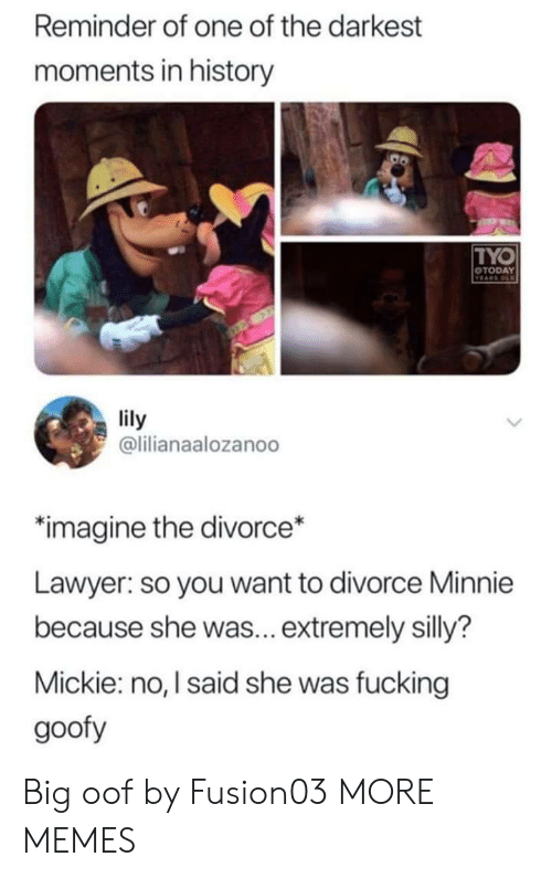 lily: Reminder of one of the darkest  moments in history  TYO  OTODAY  VEARS OLD  lily  @lilianaalozanoo  imagine the divorce*  Lawyer: so you want to divorce Minnie  because she was... extremely silly?  Mickie: no, I said she was fucking  goofy Big oof by Fusion03 MORE MEMES