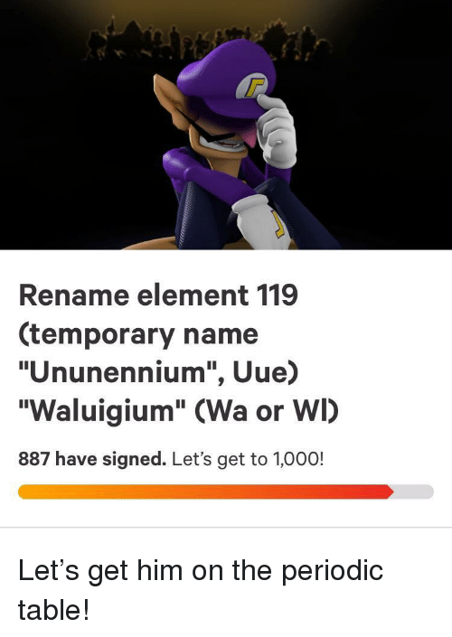 "periodic table: Rename element 119  (temporary name  ""Ununennium"", Uue)  ""Waluigium"" (Wa or WI)  887 have signed. Let's get to 1,000! Let's get him on the periodic table!"